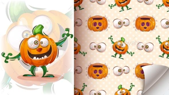 Halloween Pumpkin - Seamless Pattern