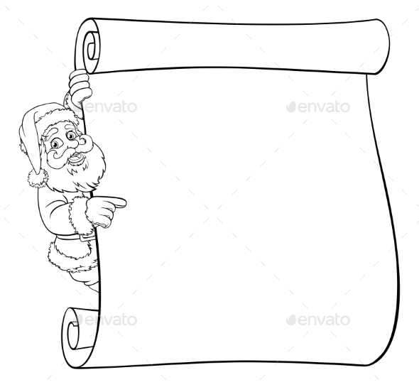 Santa Claus Christmas Scroll Cartoon Sign