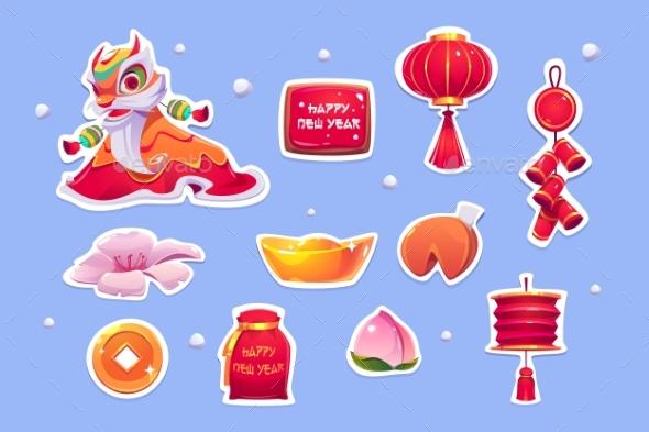 Chinese New Year Stickers, Symbols of China Set