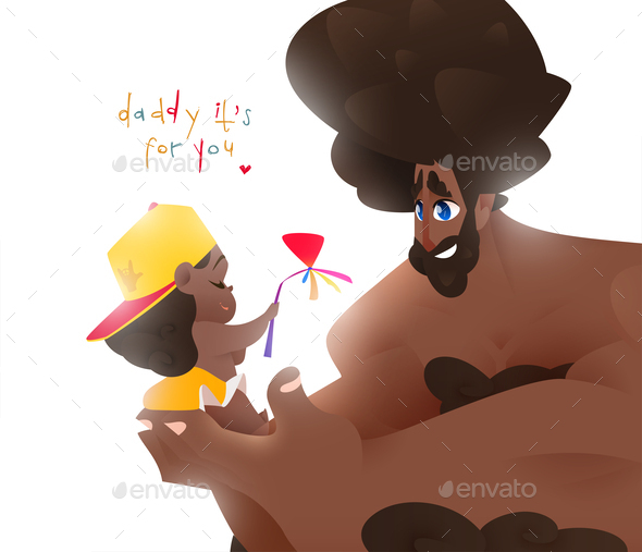 Girl and Man with Happy Mood. Father's Day