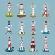 Lighthouse Beacons, Sea Light House, Cartoon Icons - GraphicRiver Item for Sale