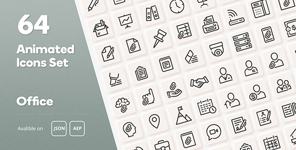 Office Animated Icons Set - Wordpress Lottie JSON SVG