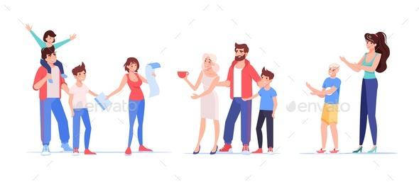 Family Member Character Customer Isolated Set