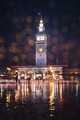 Winter Rain at San Francisco Ferry Building with Light Reflections - PhotoDune Item for Sale