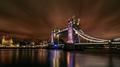 London Tower Bridge with Purple Holidays Lights at Night - PhotoDune Item for Sale