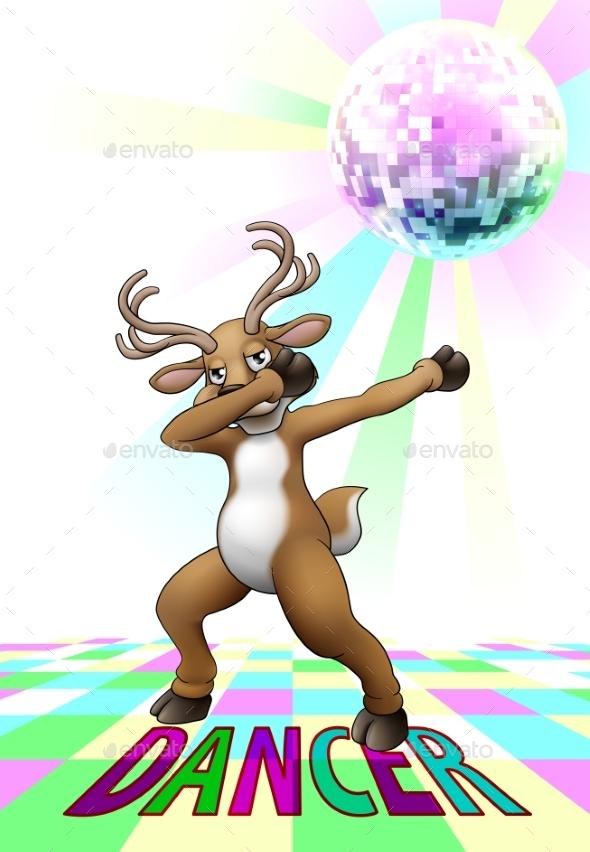 Christmas Reindeer Cartoon Dabbing Disco Dance