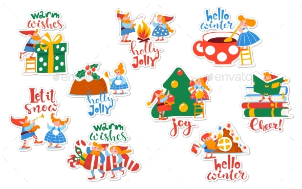 Winter Tags and Stickers with Elves