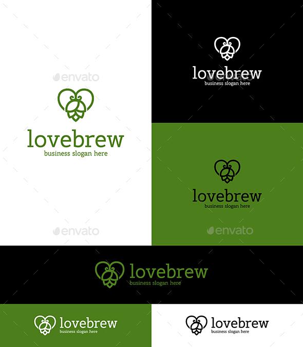 Love Beer Hop Logo Symbol