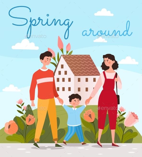 Happy Family Walking Together at Spring Season