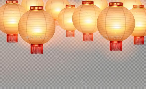 Chinese Lanterns Realistic Transparent Background