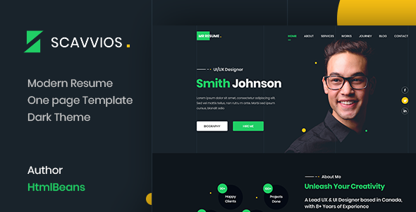 Download Scavvios | One Page Parallax HTML5 Template Nulled