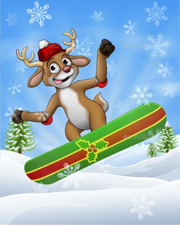Christmas Reindeer Snowboarding In Snow Cartoon