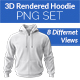 3D Rendered Hoodie PNG Set - GraphicRiver Item for Sale