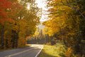 Bend in a road in Michigan with trees in fall color on a bright autumn afternoon - PhotoDune Item for Sale