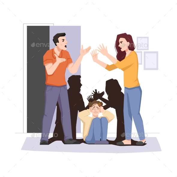 Family Conflict Quarreling Couple and Afraid Child