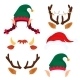 Christmas Antlers with Light Garland, Elf Hat and - GraphicRiver Item for Sale
