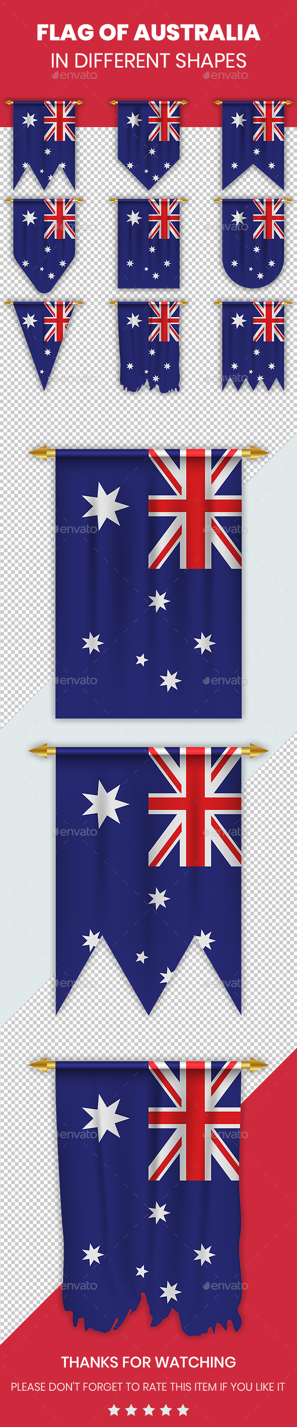 Australia Flag in Different Shapes