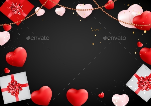 Love Valentines Day Background with Hearts