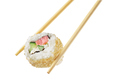 Chopsticks with sushi roll isolated on white background - PhotoDune Item for Sale