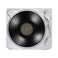 Turntable with long play or LP vinyl record isolated on white. - PhotoDune Item for Sale