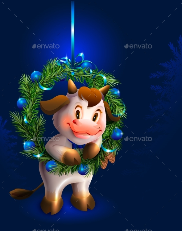 White Bull and Christmas Fir Wreath Symbol of 2021