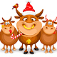 Christmas And Happy New Year Greeting With Bulls - GraphicRiver Item for Sale