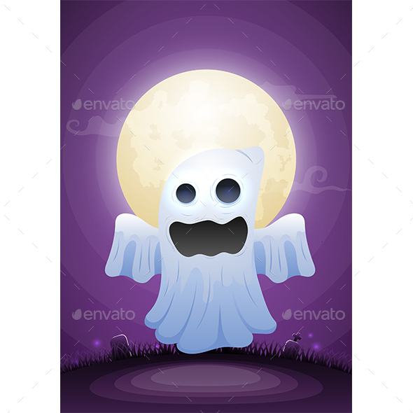 Halloween Ghost in The The Moonlight and Graveyard