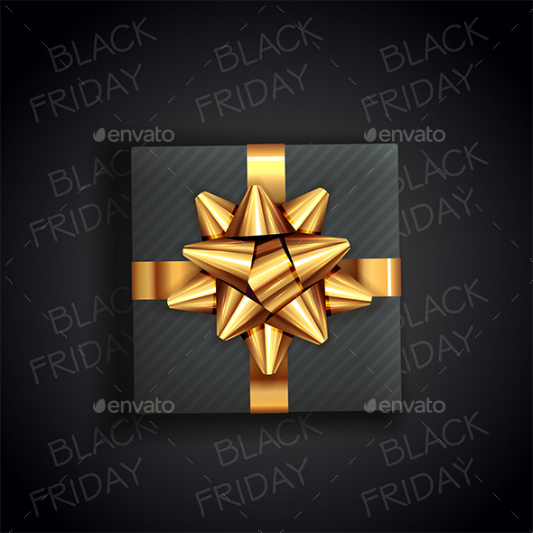Text Black Friday and Gift Box