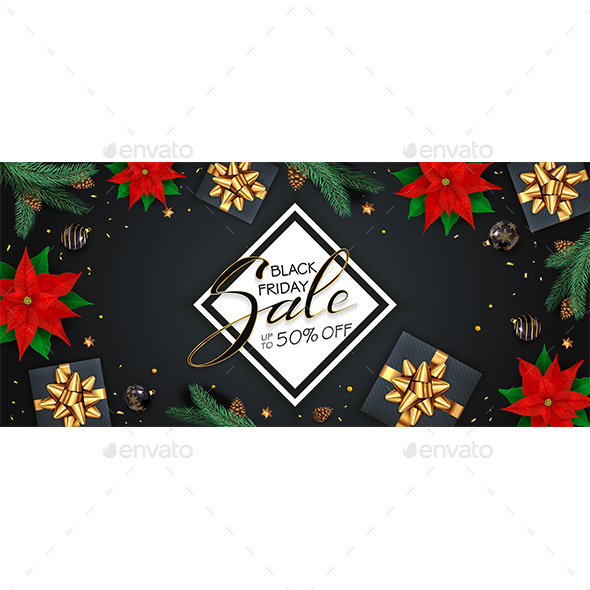 Black Friday Sale with Christmas Decorations
