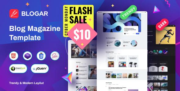 Blogar - Blog Magazine Template with Dark Mode