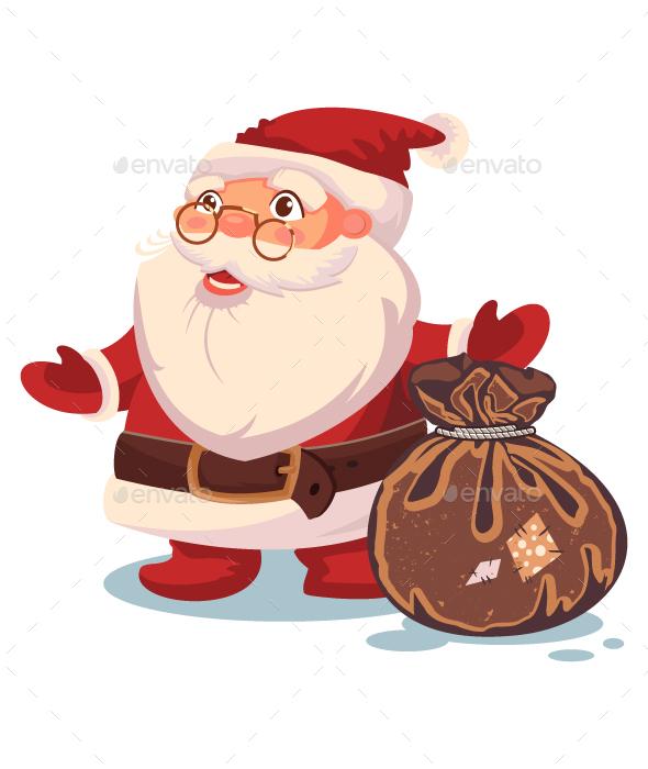 Santa Claus And Sack Vector Christmas Illustration
