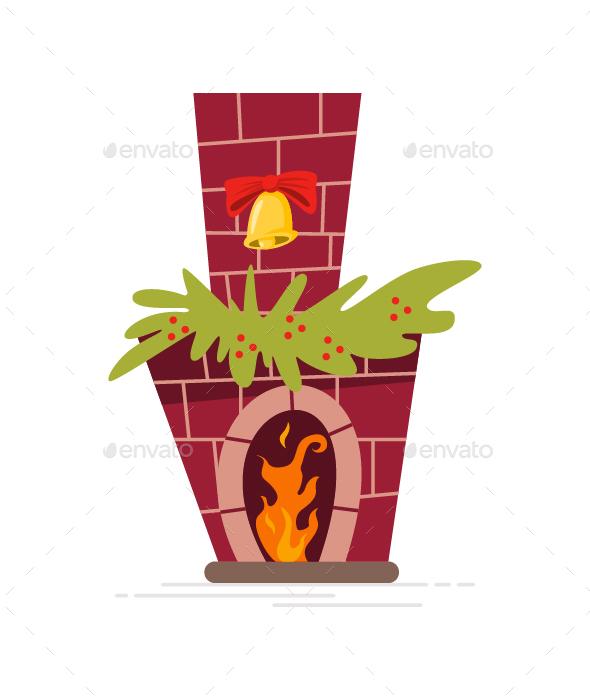 Christmas Fireplace Vector Cartoon Icon