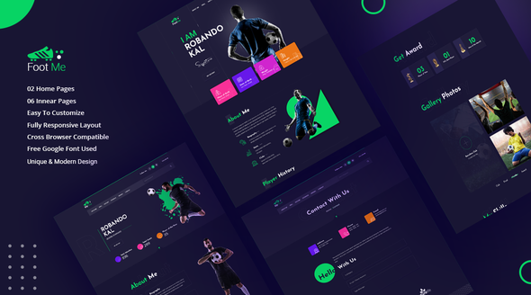 Footme - Football Player Portfolio HTML Templates