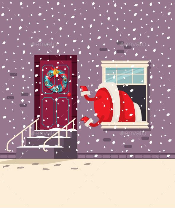 Santa Claus In Window Vector Cartoon Christmas Character