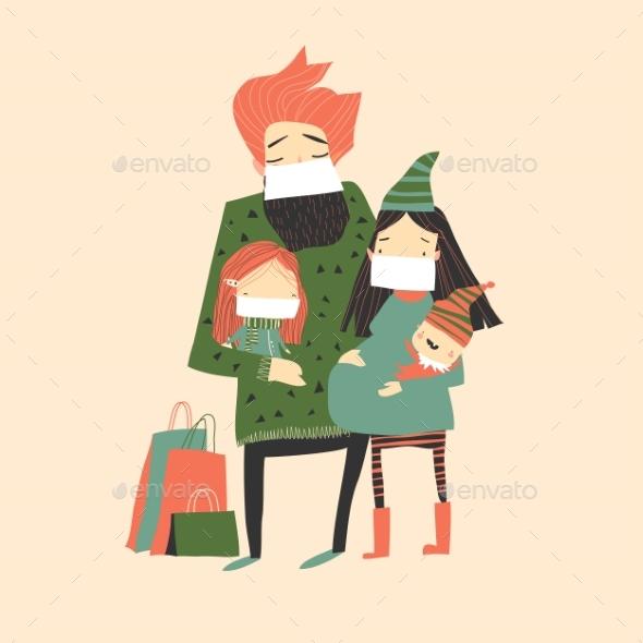 Cartoon Happy Family Wearing Face Protective Mask