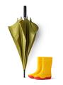 green umbrella and gumboots - PhotoDune Item for Sale