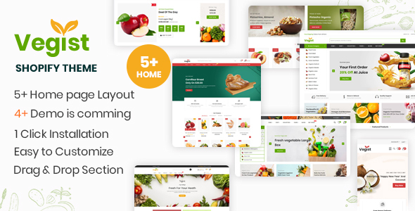 Vegist - The  Vegetables, Supermarket & Organic Food eCommerce Shopify Theme