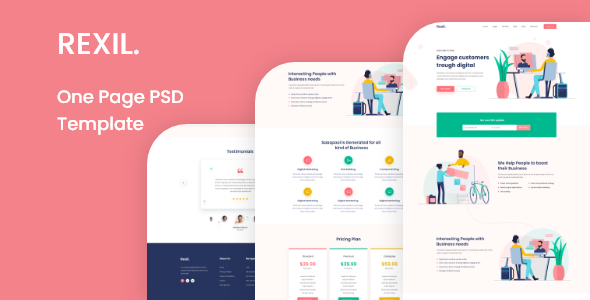 Download Rexil- One Page PSD Template Nulled