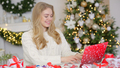 Young pretty blond woman shopping online using laptop against Christmas background - PhotoDune Item for Sale
