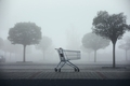 Abandoned shopping cart on parking lot in thick fog - PhotoDune Item for Sale