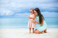 Adorable little girl and young mother on tropical white beach - PhotoDune Item for Sale
