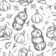 Garlic Bulb Seamless Pattern Outline Hand Drawn - GraphicRiver Item for Sale