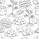 Potato Tubers Seamless Pattern Outline Hand Drawn - GraphicRiver Item for Sale