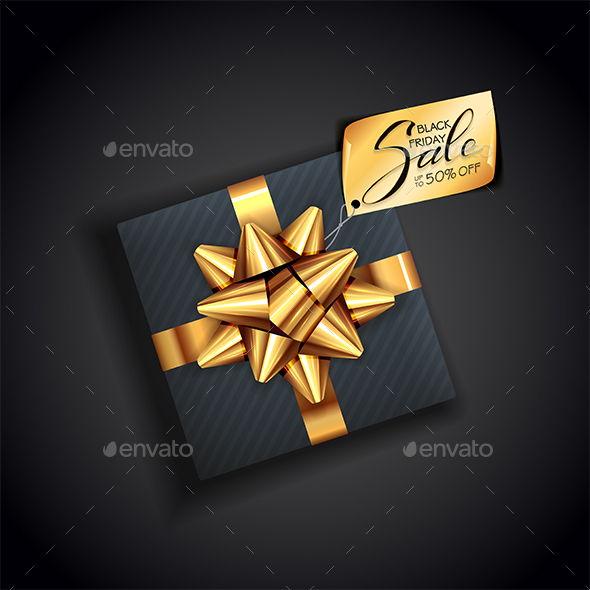 Banner with Text Black Friday Sale on Gift Box