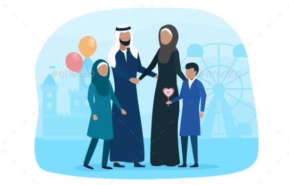 Muslim Family Walking with Kid in Amusement Park