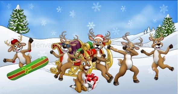 Christmas Fun Scene Santa Claus Sled Reindeer