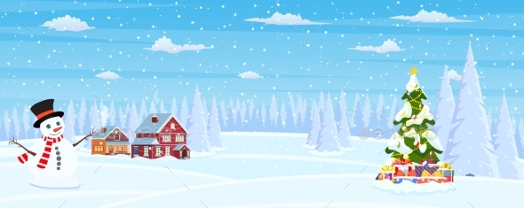 Christmas Landscape Background with Snow and Tree