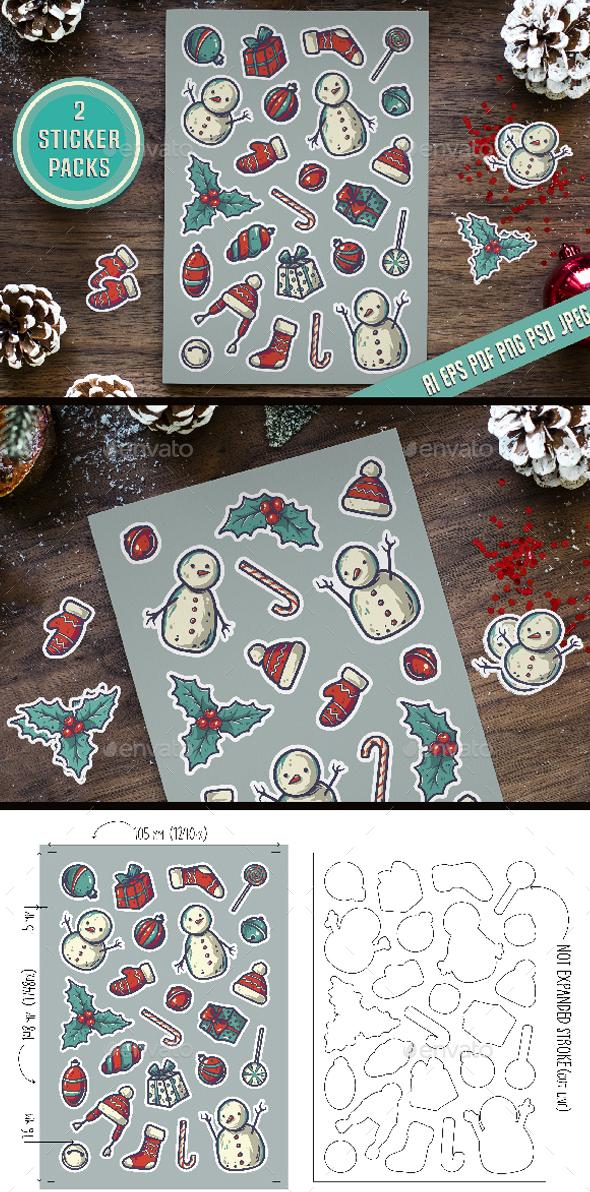 2 Christmas Vector Sticker Packs