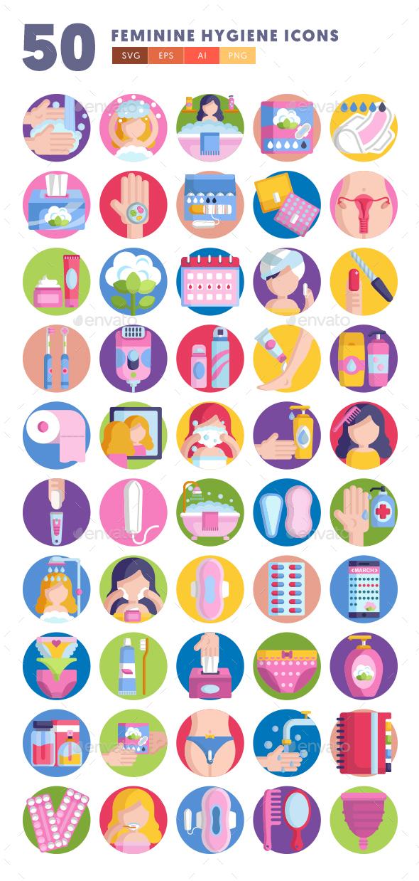 50 Feminine Hygiene Icons