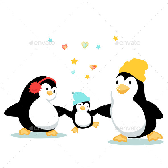 Cartoon Penguin Family with Jumping Laughing Baby